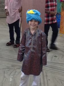 Ben's turban, courtesy of Riya's scarf and a cousin's ingenuity.